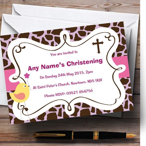 Tweetie Bird Animal Print Christening Party Personalised Invitations