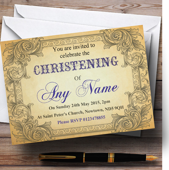 Typography Vintage Blue Postcard Christening Party Personalised Invitations
