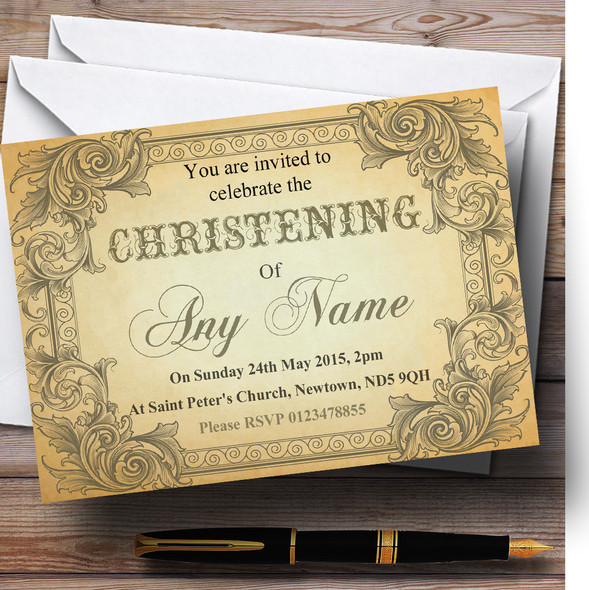 Typography Vintage Brown Postcard Christening Party Personalised Invitations