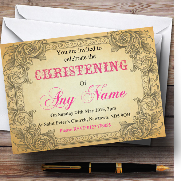 Typography Vintage Hot Pink Postcard Christening Party Personalised Invitations