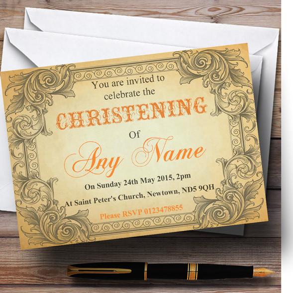 Typography Vintage Orange Postcard Christening Party Personalised Invitations