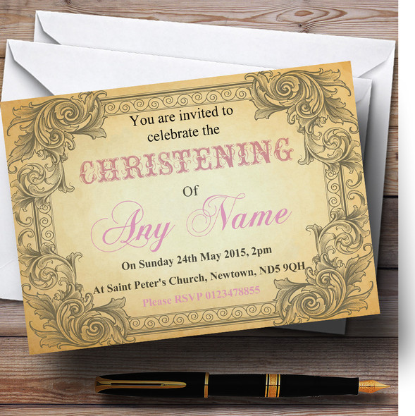 Typography Vintage Pale Pink Postcard Christening Party Personalised Invitations