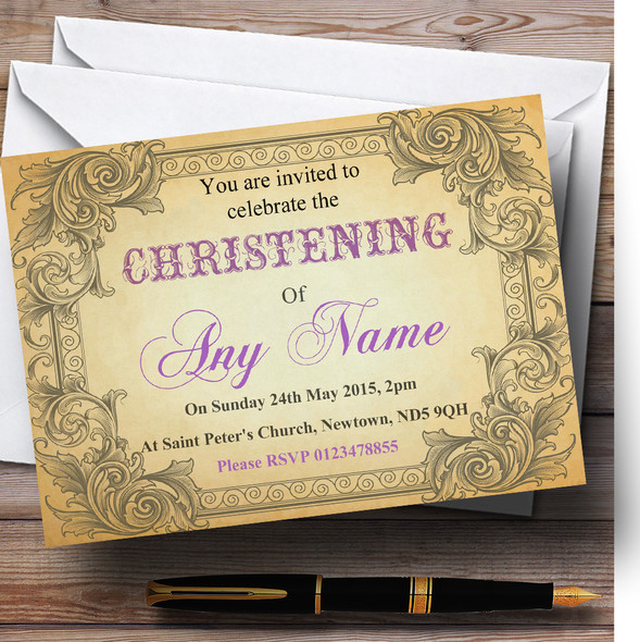 Typography Vintage Purple Postcard Christening Party Personalised Invitations