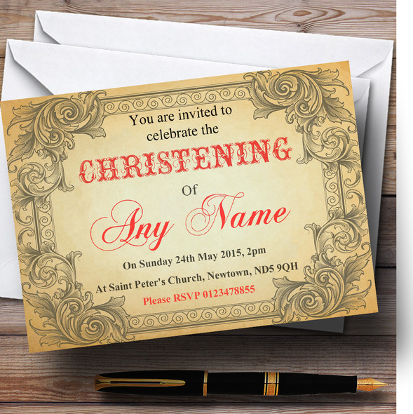 Typography Vintage Red Postcard Christening Party Personalised Invitations