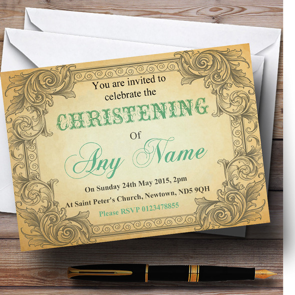Typography Vintage Turquoise Postcard Christening Party Personalised Invitations