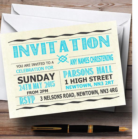 Typography Word Art Aqua Blue Christening Party Personalised Invitations