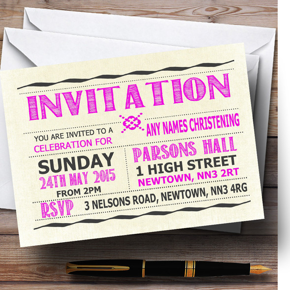 Typography Word Art Hot Pink Christening Party Personalised Invitations