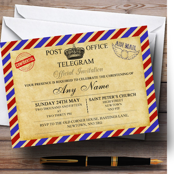 Vintage Airmail Telegram Postcard Christening Party Personalised Invitations
