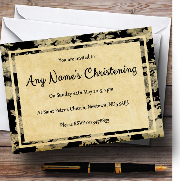 Vintage Black Roses Postcard Style Christening Party Personalised Invitations