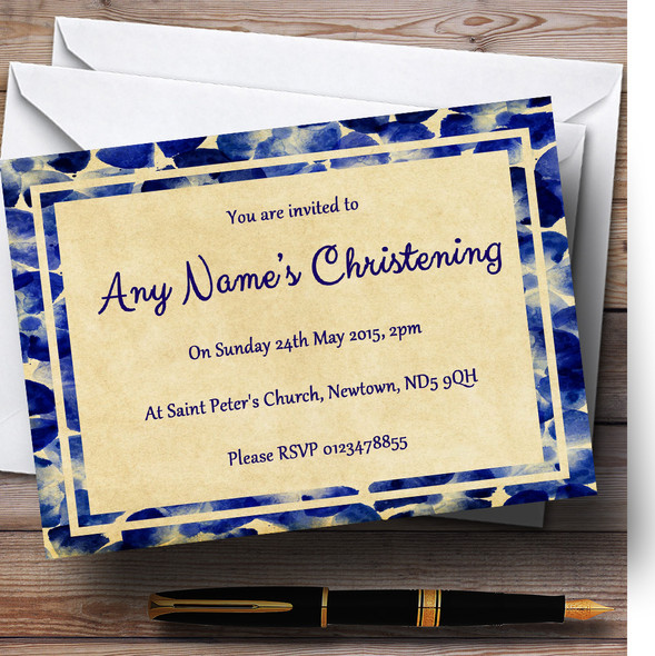 Vintage Blue Flowers Postcard Style Christening Party Personalised Invitations