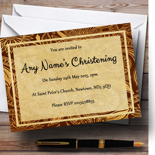 Vintage Brown Gold Postcard Style Christening Party Personalised Invitations