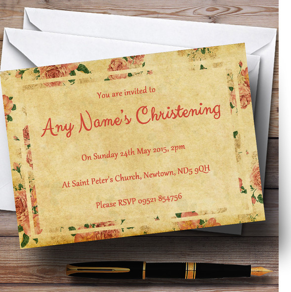 Vintage Pink Roses Postcard Style Christening Party Personalised Invitations