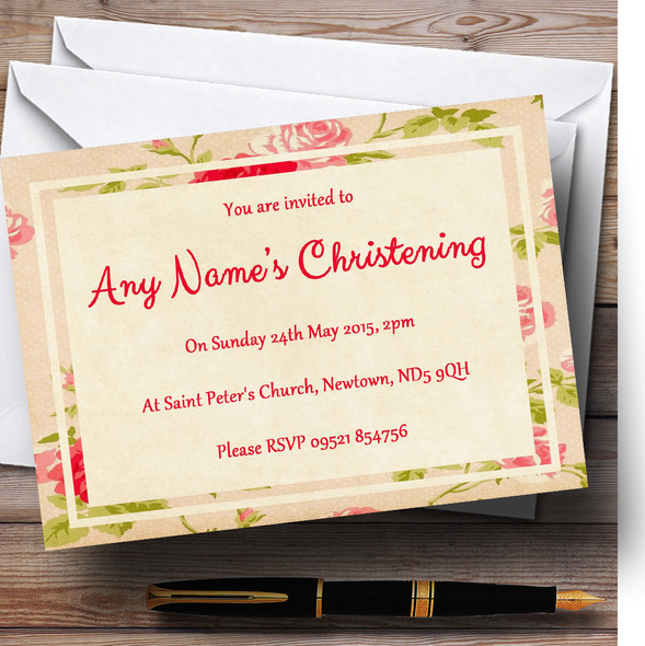 Vintage Pink Shabby Chic Flowers Postcard Style Christening Party Personalised Invitations