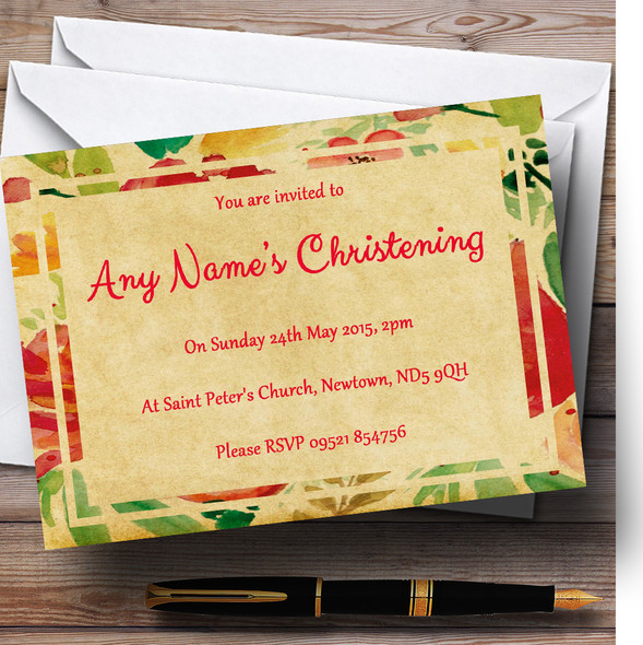 Vintage Pink Yellow Flowers Postcard Style Christening Party Personalised Invitations