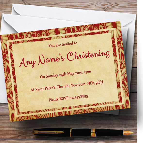 Vintage Royal Red Postcard Style Christening Party Personalised Invitations