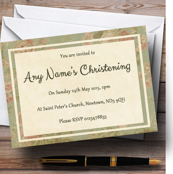 Vintage Sage Green Postcard Style Christening Party Personalised Invitations