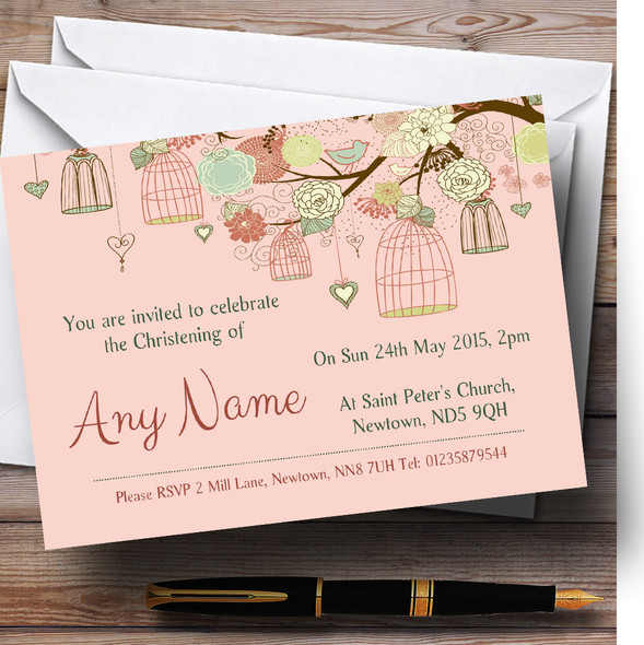 Vintage Shabby Chic Birdcage Coral Christening Party Personalised Invitations
