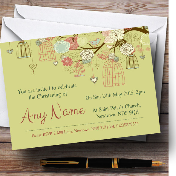 Vintage Shabby Chic Birdcage Gold Green Christening Party Personalised Invitations