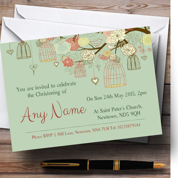 Vintage Shabby Chic Birdcage Green Christening Party Personalised Invitations