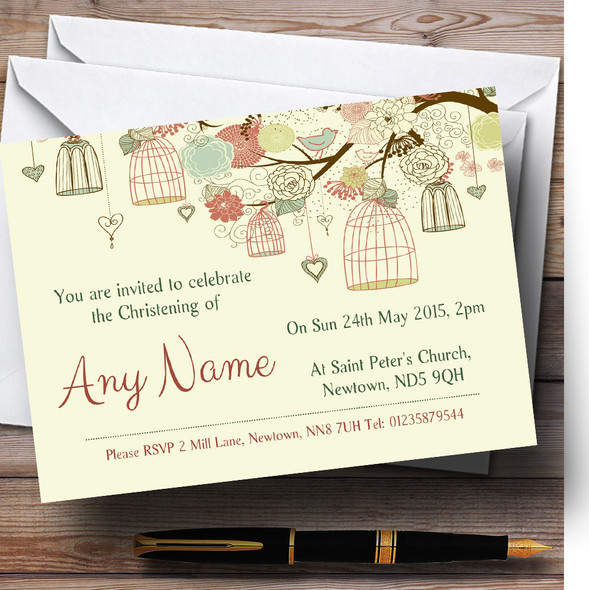 Vintage Shabby Chic Birdcage Pale Yellow Christening Party Personalised Invitations