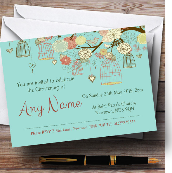 Vintage Shabby Chic Birdcage Turquoise Christening Party Personalised Invitations