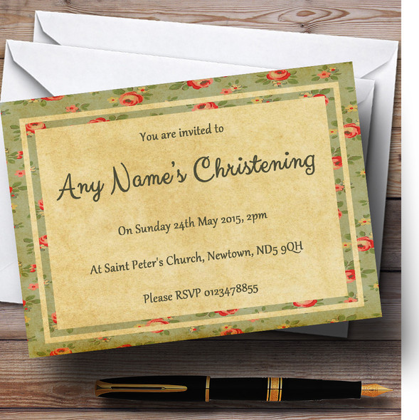 Vintage Shabby Chic Floral Postcard Style Christening Party Personalised Invitations