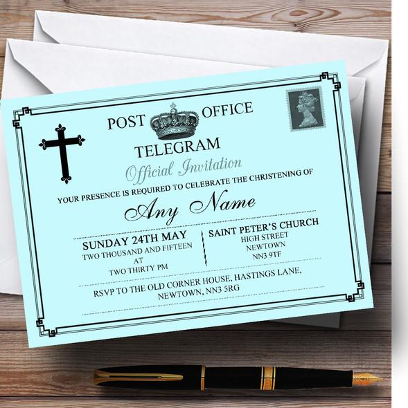 Vintage Telegram Elegant Aqua Christening Party Personalised Invitations