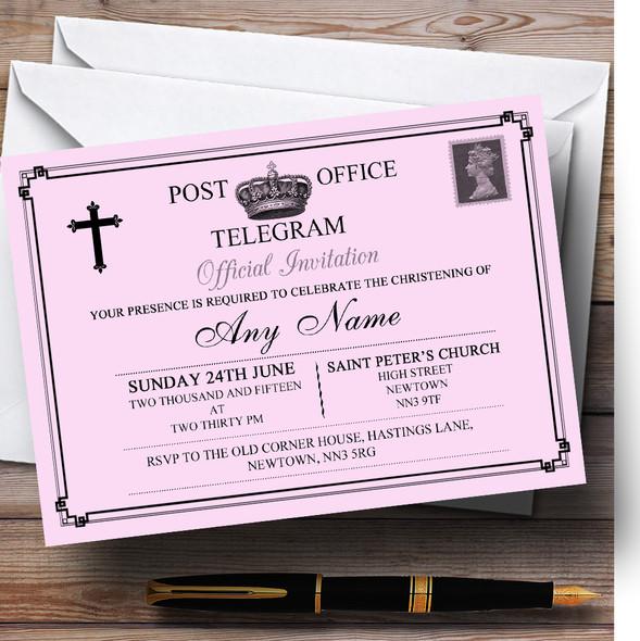 Vintage Telegram Elegant Pink Christening Party Personalised Invitations