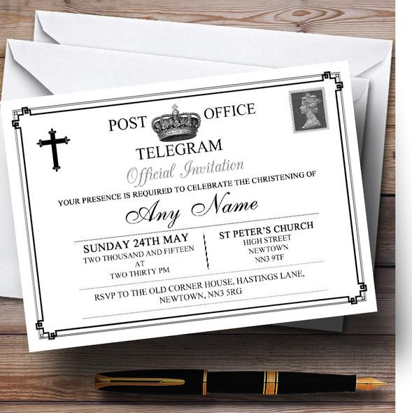 Vintage Telegram Elegant White Christening Party Personalised Invitations