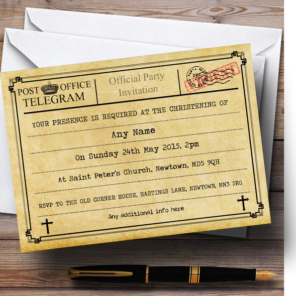 Vintage Telegram Typewritten Christening Party Personalised Invitations