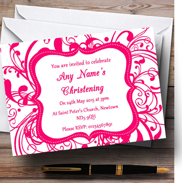 White & Pink Swirl Deco Christening Party Personalised Invitations