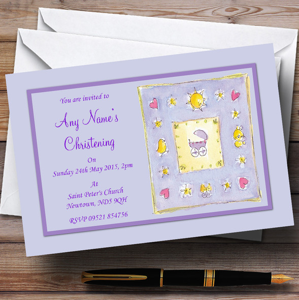 Adorable Lilac Purple Cute Christening Party Personalised Invitations