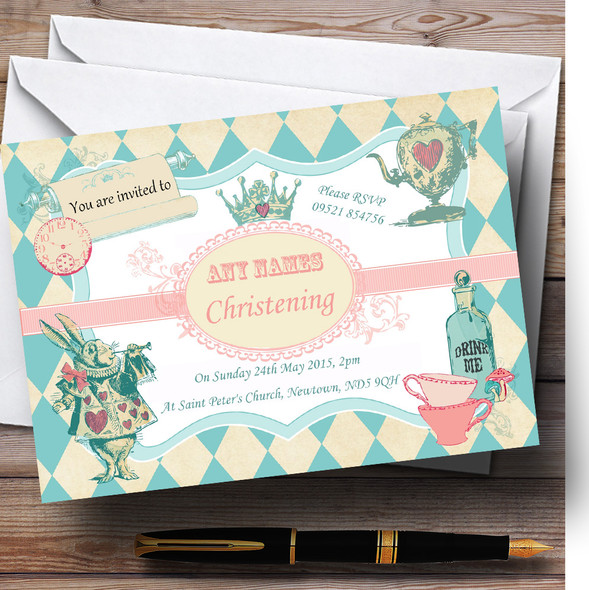 Alice In Wonderland Mad Hatters Tea Christening Party Personalised Invitations