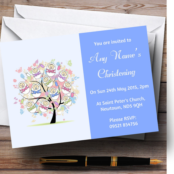 Baby Tree Boy Blue Christening Party Personalised Invitations