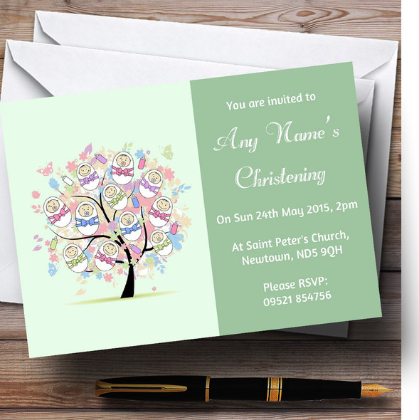 Baby Tree Green Christening Party Personalised Invitations