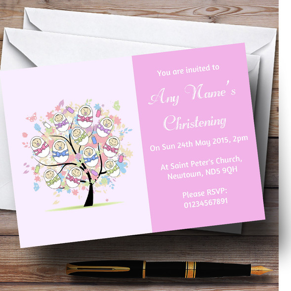 Baby Tree Pink Girl Christening Party Personalised Invitations