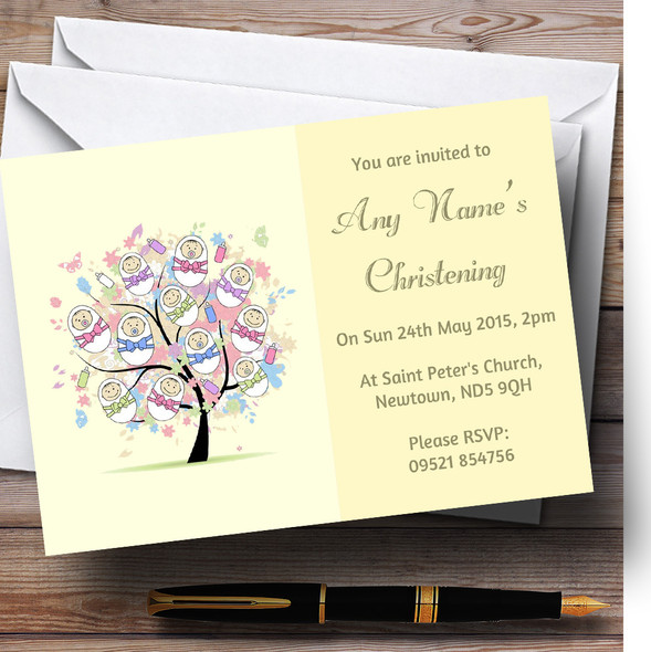 Baby Tree Unisex Yellow Christening Party Personalised Invitations