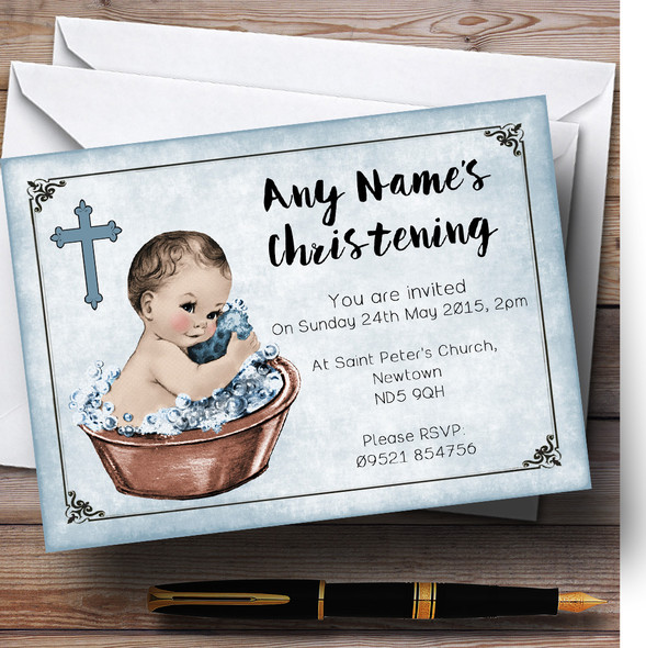 Vintage Baby Boy In Tub Personalised Christening Invitations