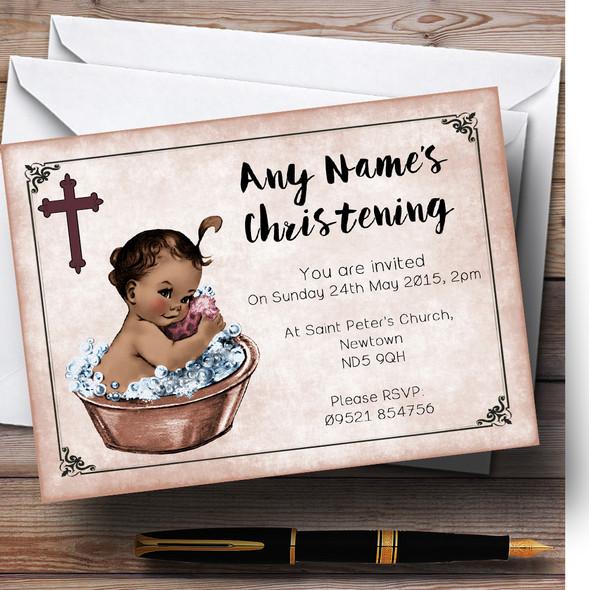 Vintage Baby Girl Dark Skin Personalised Christening Invitations