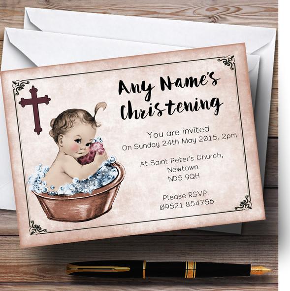 Vintage Baby Girl In Tub Personalised Christening Invitations