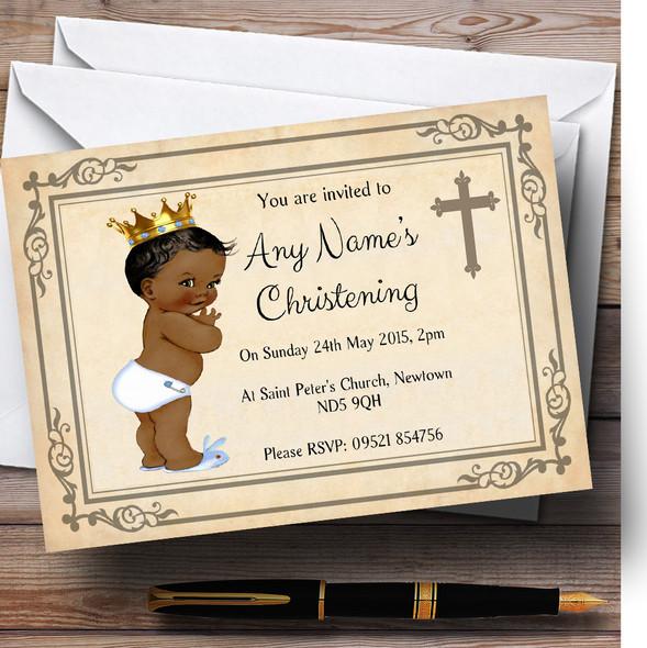 Baby Boy Dark Skin Christening Party Personalised Invitations