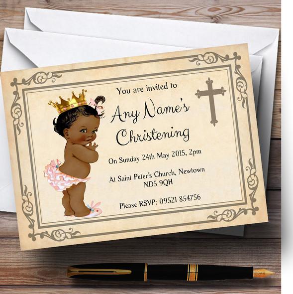 Baby Girl Dark Skin Christening Party Personalised Invitations