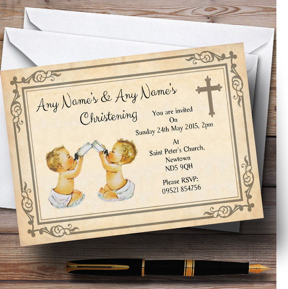 Baby Twins Vintage Christening Party Personalised Invitations
