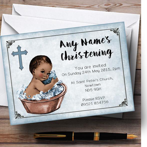Vintage Baby Boy Dark Skin Personalised Christening Invitations