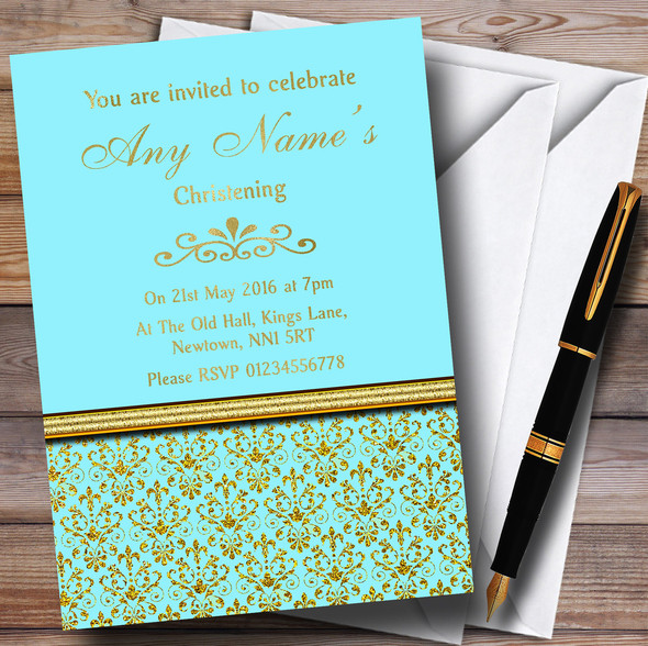 Aqua Sky Blue & Gold Vintage Damask Personalised Christening Invitations