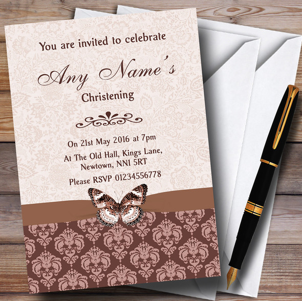 Brown Fawn Beige Vintage Floral Damask Butterfly Personalised Christening Invitations