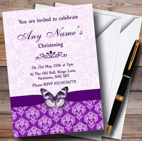 Cadbury Purple Vintage Floral Damask Butterfly Personalised Christening Invitations