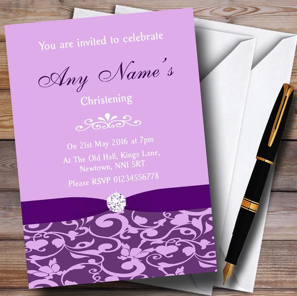 Cadbury Purple Vintage Floral Damask Diamante Personalised Christening Invitations