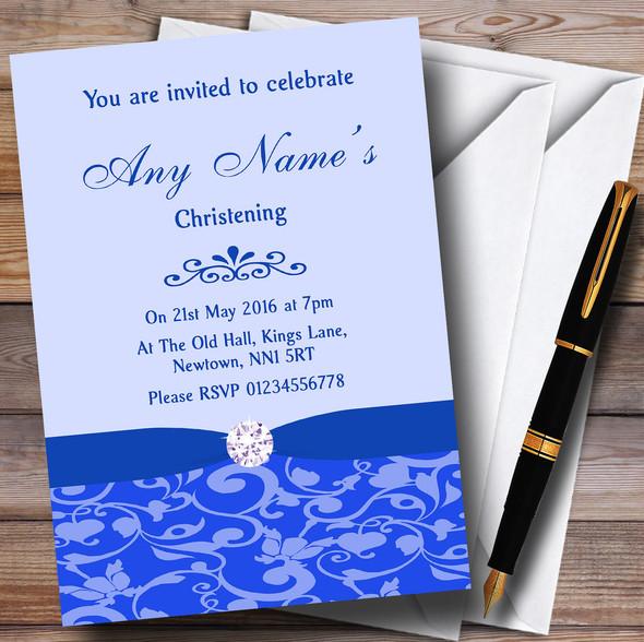 Cobalt Blue Vintage Floral Damask Diamante Personalised Christening Invitations