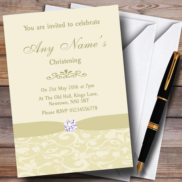Cream Pale Gold Beige Vintage Floral Damask Diamante Personalised Christening Invitations